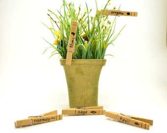 Clothespin Herb Markers, Herb Markers, Plant Markers, Garden Accessories, Garden Decoration, Seed Starting, Herb Growing, Plant Labels