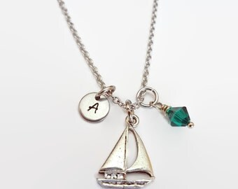 Sailboat Pewter Charm Necklace with initial and Swarovski Birthstone - Personalized Jewelry