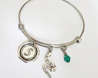 Slytherin Stainless Steel Charm Bracelet Expandable Bangle - Harry Potter Jewelry - Snake bangle