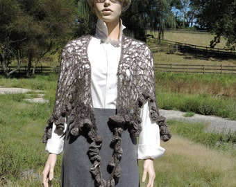 Lace Freeform Shawl in Natural Charcoal Kid Mohair