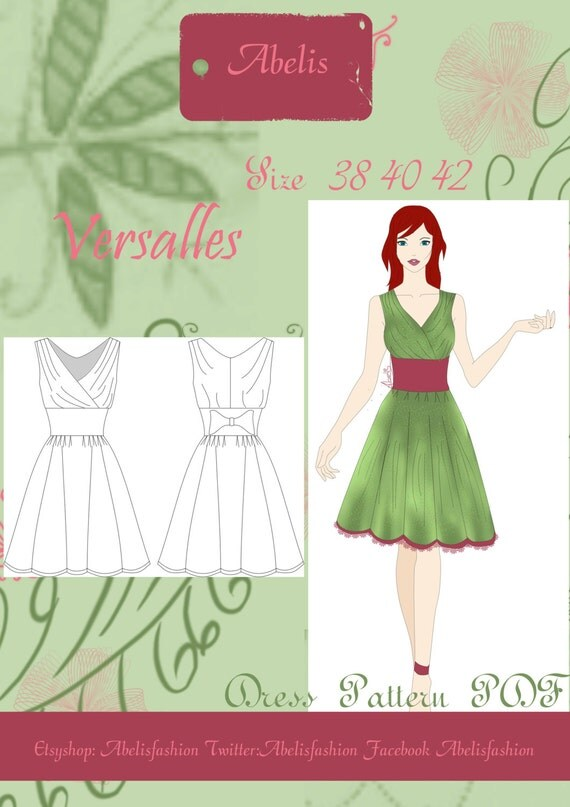 Sewing pattern, Dress pattern, cocktail dress, romantic ...