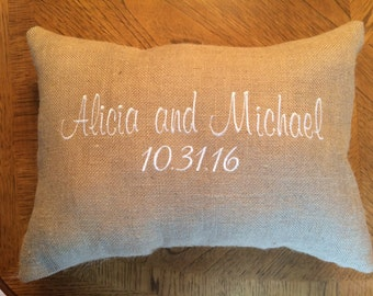 Kneeling Pillows in Burlap - Set of 2 - Personalized