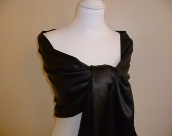 Stole satin black 70/200 cm wedding/party/christening/cocktail/Christmas/holiday season