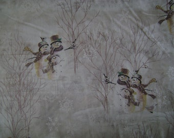 Snowman Winter Scenic Fabric (1.5 yards)
