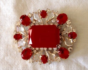 Superb vintage austrian red And clear rhinestone  pin brooch