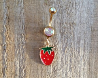 Strawberry Belly Button Ring, Gold Body Jewelry, Strawberry Navel Ring, Body Jewelry, Fruit Belly Button Jewelry.