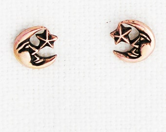 Copper Moon and Star Earring Studs EC26 Solid Copper Post Earring Stud Earrings with Hypoallergenic Steel Post and Clutches