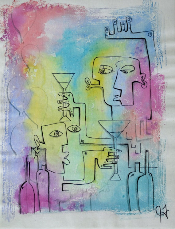 12X16 Watercolor Mixed Media on Canvas Sheet Life of the Party Painting