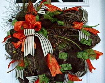 SALE 50% Off WAS 58.00 Fall Wreath, Indoor Wreath, Rustic Wreath, Door Wreath, Door Decoration, Welcome Wreath
