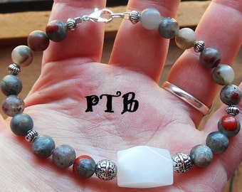 "Confidence/Social Life ~ Authentic Natural Cherry Orchard Jasper ""Septinite"" & White Jade Gemstone Bracelet 8 3/4"""