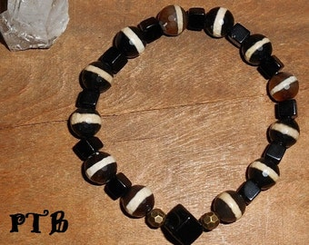 "Attract Prosperity ~ Authentic Black Lace Agate (Black Sardonyx) & Onyx Gemstone bronze Bracelet 8 1/2"""
