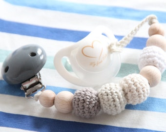 NEW Organic baby pacifier clip / Dummy chain / Teething ring / Beads are safe for teething / Stylish teether