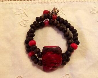 Wood and tagua nut bracelet