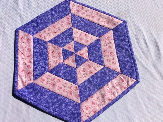 Roses centerpiece quilted table topper purple and pink spring