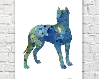 Dogo Argentino Art Print - Abstract Watercolor Painting - Dog  - Wall Decor