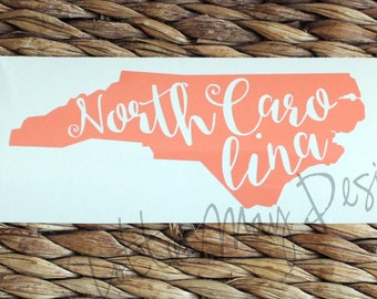 North Carolina Vinyl Decal - NC Decal - North Carolina - North Carolina State Shape Decal - NC Vinyl