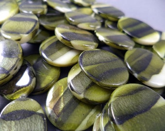 Multi-green mother of pearl coin shaped beads - 15 1/2 inch strand