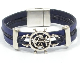 men anchor bracelet, men nautical jewelry, blue nautical bracelet, ship wheel bracelet, sailing bracelet, sailor gift, beach jewelry