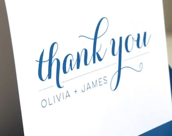 Custom Color Newlywed Wedding Thank You Cards,  Bridal Shower,  Wedding Cards