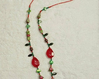 Christmas Lanyard, Beaded ID Lanyard, 37 Inches, Teacher's Lanyard, ID Badge Necklace, Nurse's Lanyard, Holiday Lanyard, Red and Green