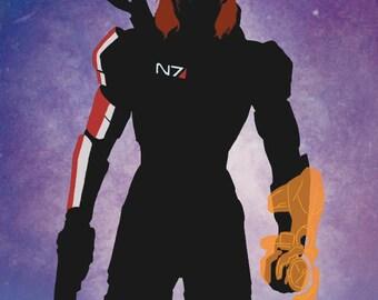 Mass Effect Fem Shepard - stylish minimal print / poster