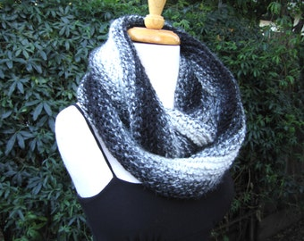 Black and white infinity scarf, knit wool blend cowl, chunky winter accessory, elegant neckware, cozy knit infinity scarf, warm winter gift
