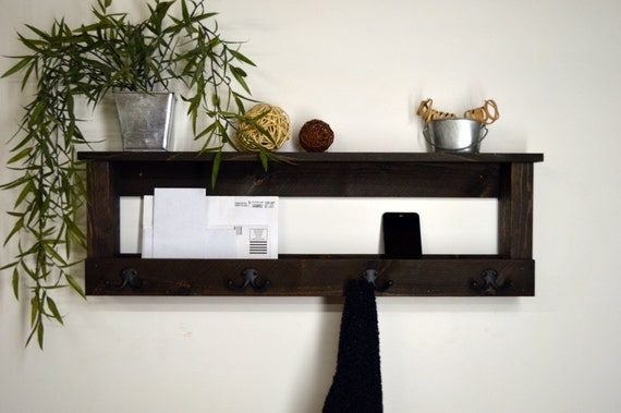 entryway organizer 2 tier wall shelf keys by rusticmoderndecor. Black Bedroom Furniture Sets. Home Design Ideas