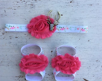 Baby headband and Barefoot sandals; baby barefoot sandals; pink antler sandal; toddler barefoot sandal; sandal