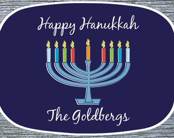 Hanukkah Menorah Melamine Platter, Personalized Chanukkah Serving Plate, Latkes Serving Platter, Hostess Gift, Chanukah Custom Platter