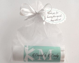 10 Monogrammed Lip Balms, Wedding Favors, Bridal Shower, Party Favors, all natural ingredients