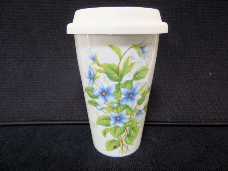 Travel Mug Hand Painted Coffee Tea Porcelain Cup Ceramic