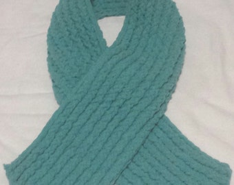 Super Plush Teal Knitted Scarf