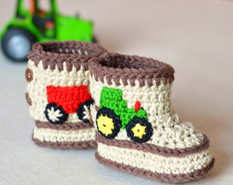 Crochet Pattern Baby Booties Tractor Booties in 3 Sizes Baby Boy Shoes Pattern Instant Download