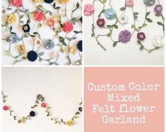 CUSTOM COLOR Mixed Flower Felt Garland