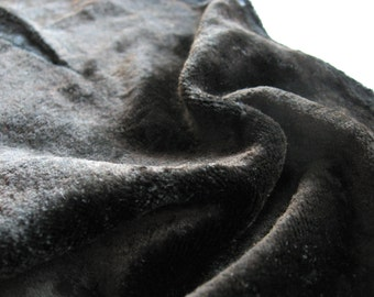 Viscose velvet for teddy bears/ crushed velvet/ faded aged distressed black/ lustrous charcoal black/ viscose on cotton for crafts/ 3.9sq.ft