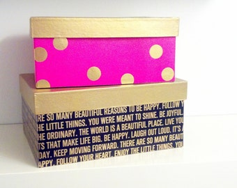 Pink black and gold paper mache nesting boxes; inspirational sayings boxes; storage boxes