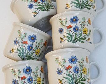 6 Retro Espresso Cups~Italian Espresso Demitasse Coffee Set 1960-70s~Floral Porcelain Cups~Espresso Tazzine ITALY~Multicolor Flowers.