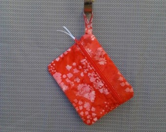 Red Batique Zipper Pouch