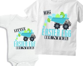 Big Brother Easter Egg Hunter and Little Brother Ester Egg Hunter Dump Truck set of 2 Shirts for boys or Bodysuits