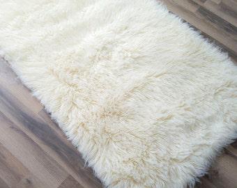 Flokati Area Rug, 3ft x 5ft, Natural, 100% Wool Shag Rug