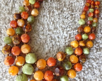 Triple Strand Choker Necklace in Orange and Green