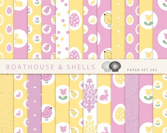 EASTER & SPRING in pink and yellow, Scrapbooking digital paper pack - 24 papers with birds/eggs/bunnies print - download - printable - 295