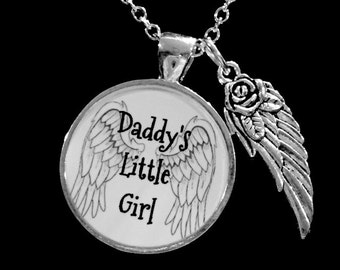 Gift For Her, Daddy's Little Girl Necklace, Angel Wing Gift Daughter Necklace