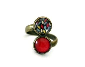 """Small ring double retro vintage cabochon brass """"drops colorful fuchsia"""""""