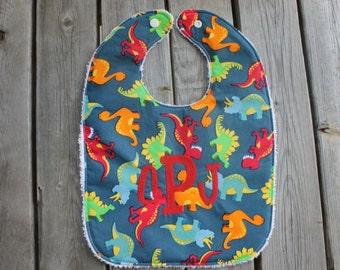 Infant/Toddler Bib with Monogram- Monogrammed bib, monogrammed burp cloth, bib and burp cloth set, dinosaurs