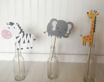 Jungle Birthday Party Decorations - Jungle Animal Decorations - Zoo Decorations - 5 Jungle Centerpieces - Zoo Party