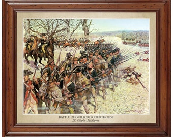 Battle of Guilford Courthouse; 16x20 print showing the artist's name and title of painting