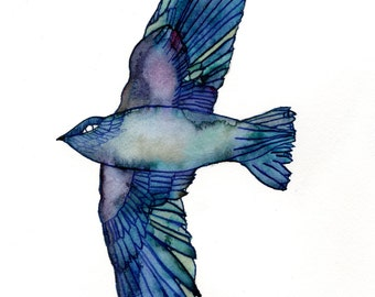 Artist Giclee Print of Water Color Painting by Jenn Rawling. 'My Chimney Swift'.