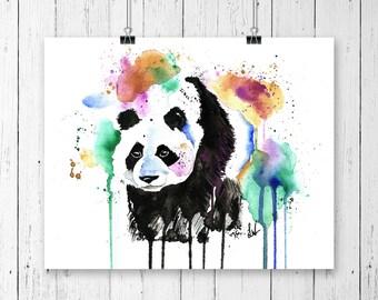 PANDA PRINT, Zoo Animal art, panda watercolour, panda art, wall art, home decor, nursery decor, panda painting, bear art, bear print