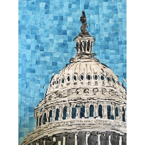 "Washington DC- US Capitol - Architectural Art: 12""x16"" Original Painting"